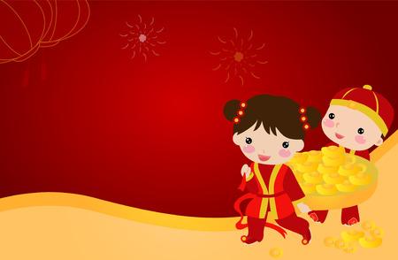 Happy Chinese New Year _children Banco de Imagens - 33974118