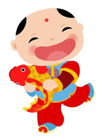 中国語の少年 - 新年あけましておめでとうございます  イラスト・ベクター素材