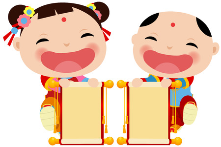 Chinese New Year Greetings - children and banner Banco de Imagens - 35884486