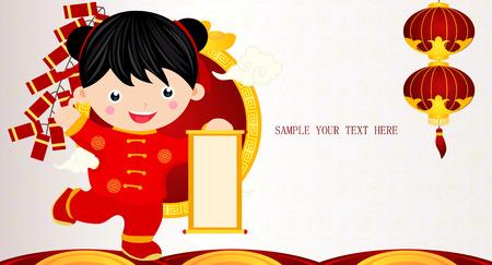 Vector children: Chúc mừng Trung Quốc mới năm, cô gái phim hoạt hình Hình minh hoạ