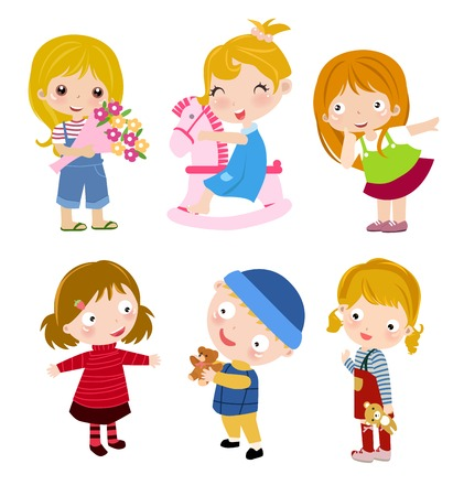 cartoon little girl: Group of children