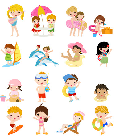 sunny beach: Summer children