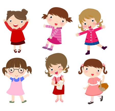 group of little girls Stock Illustratie