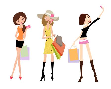 stylish woman: Fashion girls Illustration