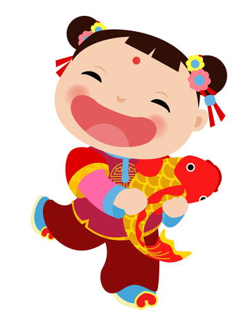 happy new year cartoon: Chinese girl - happy new year