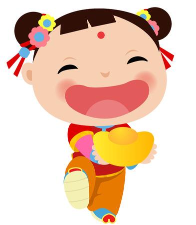 幸せな中国の新年 - 中国の少女  イラスト・ベクター素材