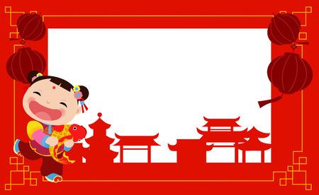 New Year Greetings_Chinese girl Banco de Imagens - 33974262