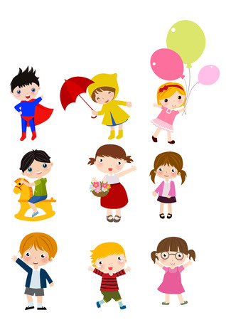 Group of children sets Vector