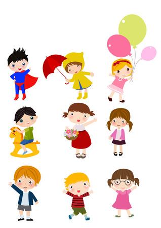 rain coat: Group of children sets Illustration