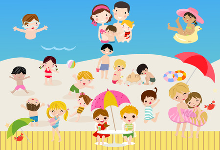 Happy children at the beach Vector