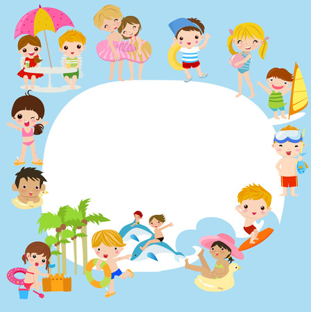 young boy in pool: group of summer children and frame Illustration