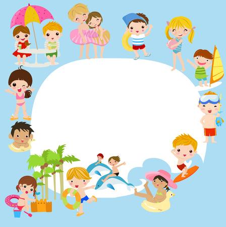 campamento: grupo de niños de verano y marco