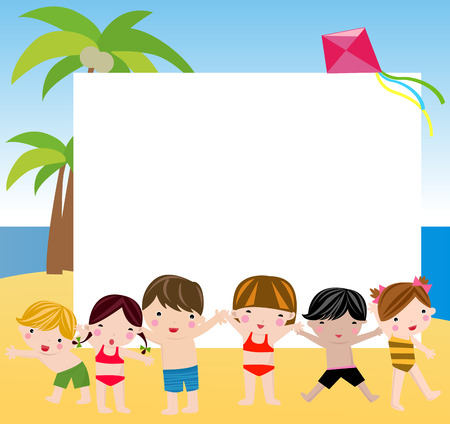 Summer children and frame Vector
