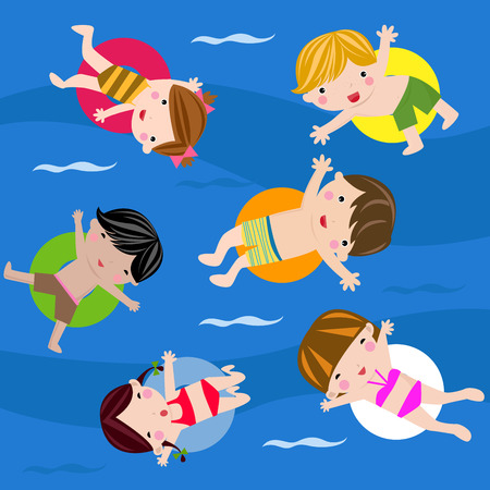 kids swimming pool: Swimming children