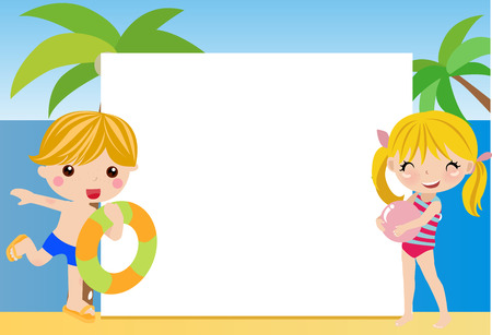 young boy in pool: summer frame with children Illustration
