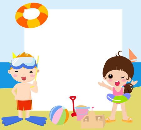 maillot de bain: Les enfants et les ch�ssis Illustration