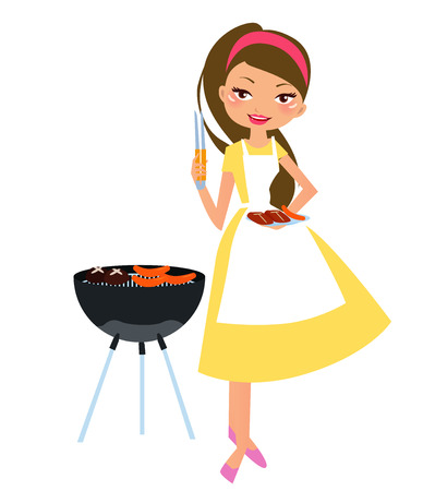 hubcap: Barbecue girl