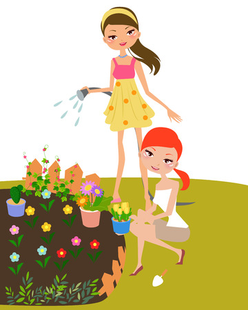 watering garden: Pretty girls in garden