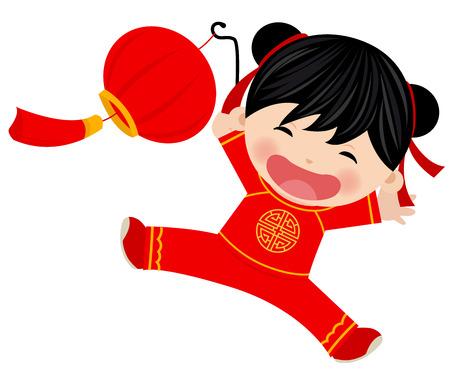 ランタンと中国の女の子