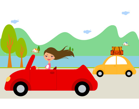 mountain road: Pretty girl in red car