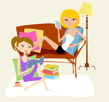 woman reading book: Two girls relax at home, reading book Illustration