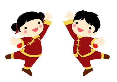happy new year cartoon: Chinese children - boy and girl