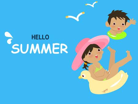young girl bath: Summer children