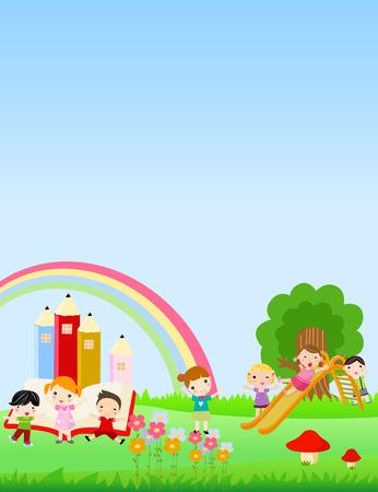 niños con lÁpices: Grupo de niños jugando en el patio de recreo