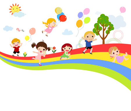 Children and rainbow Иллюстрация
