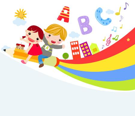 playmates: ilustración de dos niños lindo lápiz a caballo Vectores