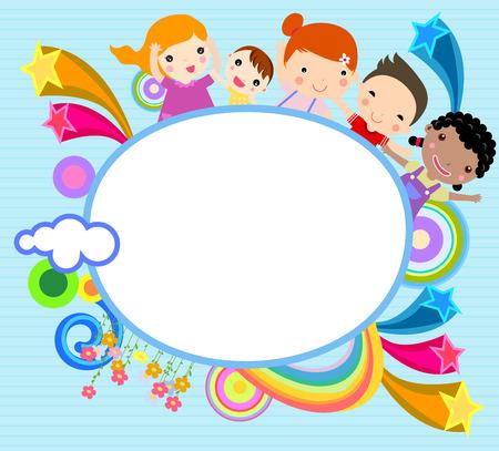 kinder: Children and frame Illustration