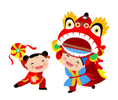 Kids playing lion dance - chinese new year Ilustração