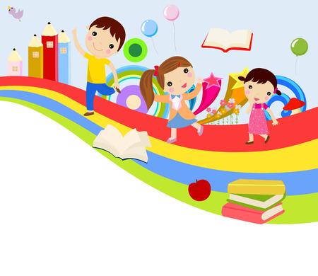 子供たちと虹  イラスト・ベクター素材