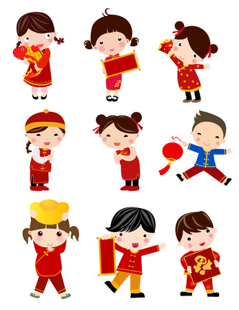niñas chinas: Nuevo Año Greetingschildren