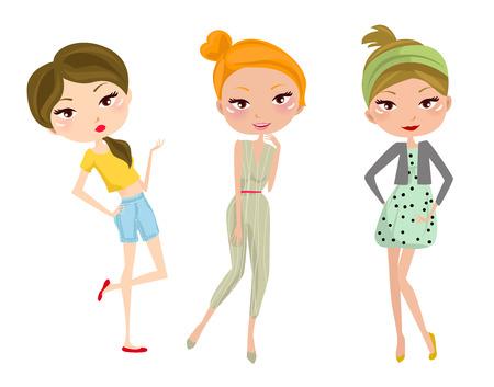 jeunes joyeux: Trois jeunes heureux filles Illustration