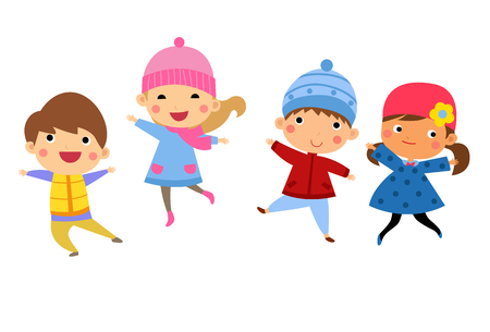 Cute happy children jumping together with winter fashion clothes Ilustração