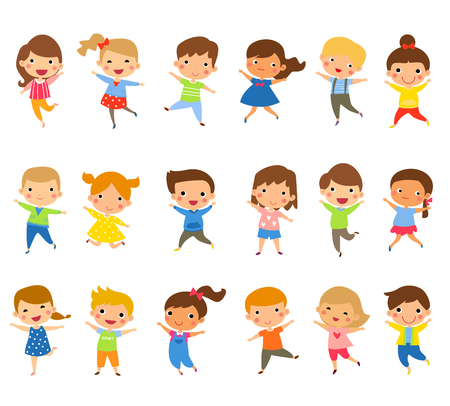 Cute happy children jumping together with winter fashion clothes Ilustracja