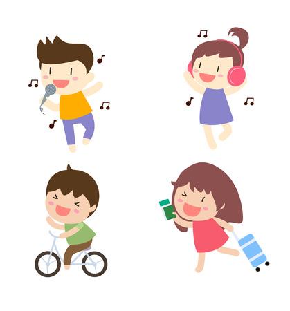 singing: Cartoon people singing,listening music,biking and running