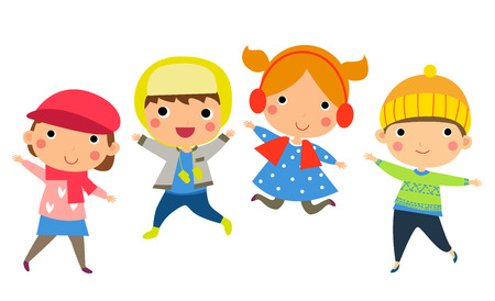 winter clothing: Cute happy children jumping together with winter fashion clothes Illustration