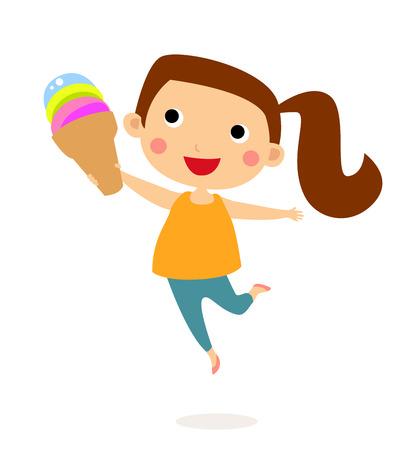 Little girl eating a sweet and cute three flavor ice cream cone Ilustração