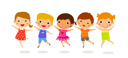 group jumping: group of children jumping