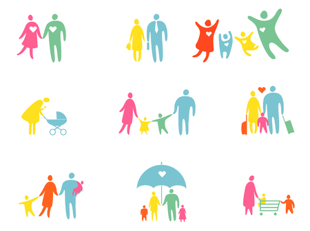 silhouettes people: Set of colored people silhouettes