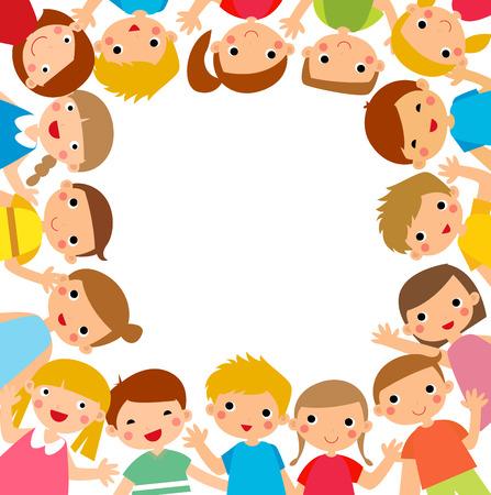 niño preescolar: Niños de la historieta alrededor del marco