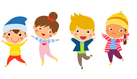 winter fashion: Cute happy children jumping together with winter fashion clothes Illustration