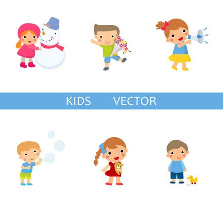 niño y niña: vector de los niños Vectores