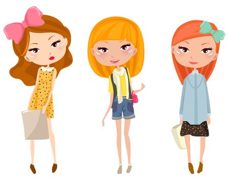jeunes joyeux: Three happy young girls Illustration