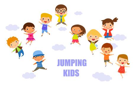 children jumping together Ilustração