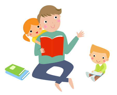 tell stories: Father reading stories to his children Illustration