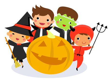Happy halloween - Cute kids wearing Halloween monster costume Ilustração