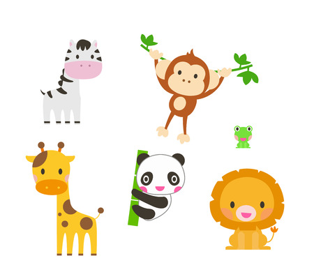 animals collection: Collection of cute animals. Elephant, lion, zebra, giraffe, panda, monkey. Illustration
